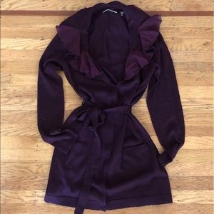 Tahari ruffled sweater in plum